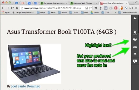Asus Transformer Book T100TA 64GB Review Rating PCMag com and Evernote Update 9